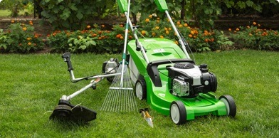a clean, new lawnmower on beautiful grass with plants behind, and a rake to the side