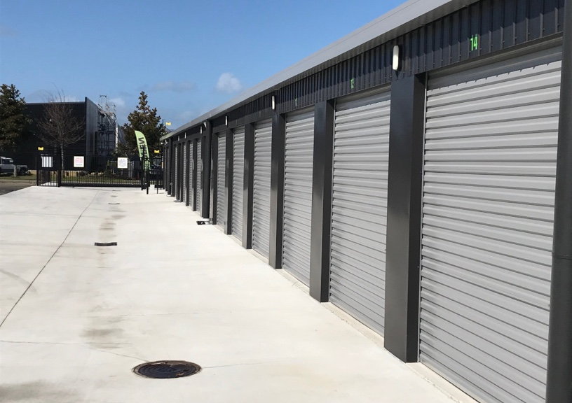 The outside of garage doors in a storage facility